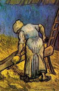 Vincent Van Gogh - Peasant Woman Cutting Straw after Millet