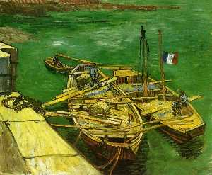 Vincent Van Gogh - Quay with Men Unloading Sand Barges