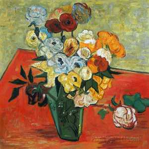 Vincent Van Gogh - Still Life Japanese Vase with Roses and Anemones