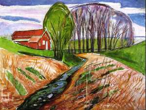 Edvard Munch - Spring landscape in the red house