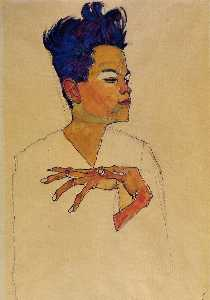 Egon Schiele - Self Portrait with Hands ..
