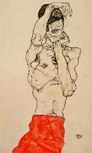 Egon Schiele - Standing Male Nude with a Red Loincloth