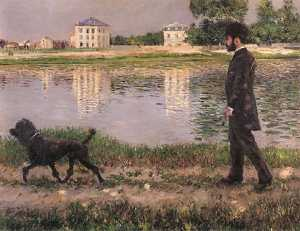 Gustave Caillebotte - Richard Gallo and His Dog at Petit Gennevilliers
