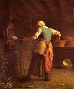 Jean-François Millet - Woman baking bread