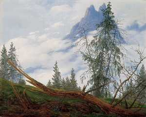 Caspar David Friedrich - Mountain Peak with Drifting Clouds