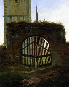 Caspar David Friedrich - The Cemetery Gate (The Ch..