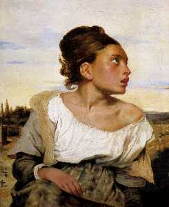 Eugène Delacroix - Girl Seated in a Cemetery
