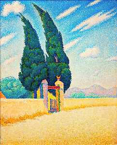 Paul Signac - Two Cypresses, Mistral, O..