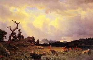 Albert Bierstadt - Thunderstorm in the Rocky Mountains