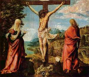 Albrecht Altdorfer - Crucifixion scene, Christ on the Cross with Mary and John