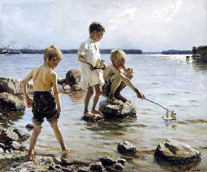 Albert Edelfelt - Boys Playing at the Beach
