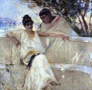 Albert Edelfelt - Horace and Lydia (study)