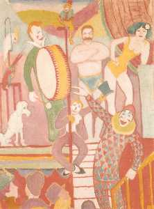 August Macke - Circus Picture II, Pair of Athletes, Clown and Monkey