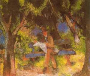 August Macke - Man Reading in a Park