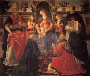 Domenico Ghirlandaio - Madonna and Child Enthroned be..