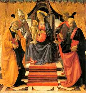 Domenico Ghirlandaio - Madonna and Child Enthroned wi..