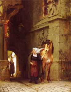 Frederick Arthur Bridgman - Leading the Horse from St..