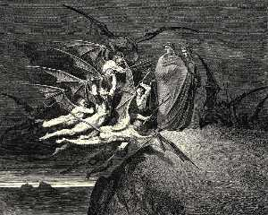 "Paul Gustave Doré - The Inferno, Canto 21, line 70. ""Be none of you outrageous."""