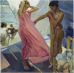 Joaquin Sorolla Y Bastida - After the Bath, Valencia