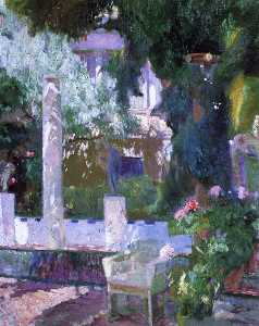 Joaquin Sorolla Y Bastida - Rose Bush at the Sorolla ..