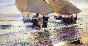 Joaquin Sorolla Y Bastida - The arrival of the boats