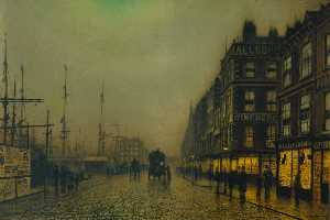 John Atkinson Grimshaw - Liverpool Quay by Moonlig..