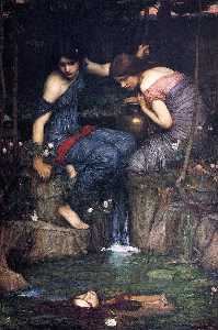 John William Waterhouse - Nymphs Finding the Head o..