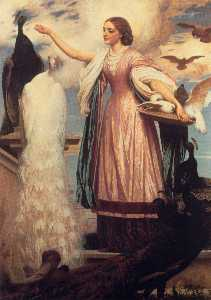 Lord Frederic Leighton - A Girl Feeding Peacocks