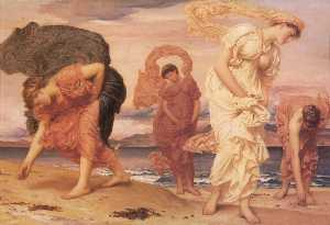Lord Frederic Leighton - Greek Girls Picking up Pebbles by the Sea