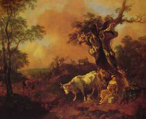 Thomas Gainsborough - Landscape with a Woodcutter and Milkmaid