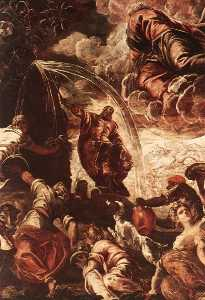 Tintoretto (Jacopo Comin) - Moses Drawing Water from the Rock detail1