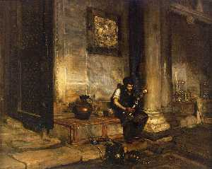 William Merritt Chase - Interior of the Baptistry at St. Mark-s