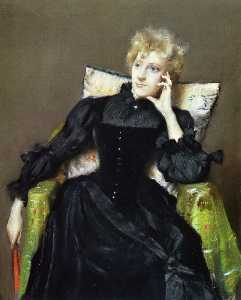 William Merritt Chase - Seated Woman in Black Dress