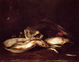 William Merritt Chase - Still Llife with Fish and Plate