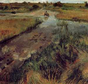 William Merritt Chase - Swollen Stream at Shinnec..