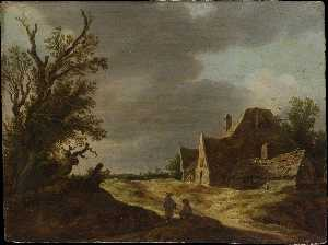 Jan Van Goyen - Sandy Road with a Farmhou..
