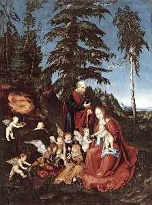 Lucas Cranach The Elder - The Rest on the Flight in..