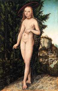 Lucas Cranach The Elder - Venus standing in a lands..