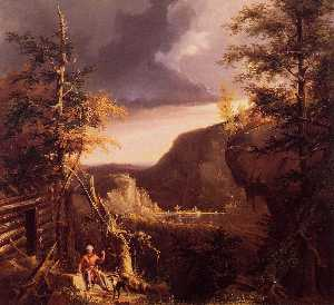 Thomas Cole - Daniel Boone Sitting at t..