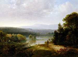 Thomas Doughty - River View with Hunters a..