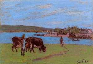Alfred Sisley - Pasture by the Seine