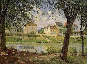 Alfred Sisley - Village on the Banks of t..