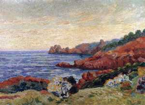 Jean Baptiste Armand Guil.. - The Red Rocks at Agay