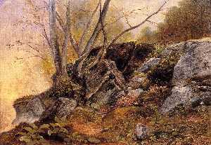 Asher Brown Durand - Study from nature, rocks ..