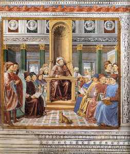 Benozzo Gozzoli - St Augustine Teaching in Rome (scene 6, south wall)