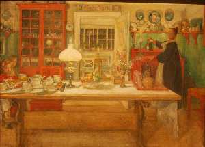 Carl Larsson - Getting ready for a littl..