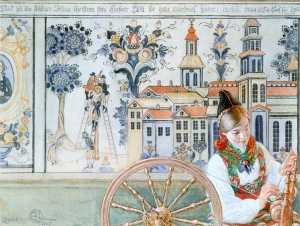 Carl Larsson - Girl With Spinning Wheel