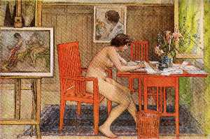 Carl Larsson - Model writing postcards