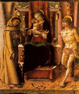 Carlo Crivelli - The Virgin and Child with Saints Francis and Sebastian