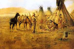 Charles Marion Russell - Cowboy Bargaining for an ..